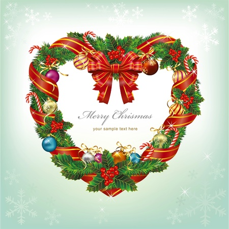Heart Shaped Wreath Christmas Decoration. Vector Vector