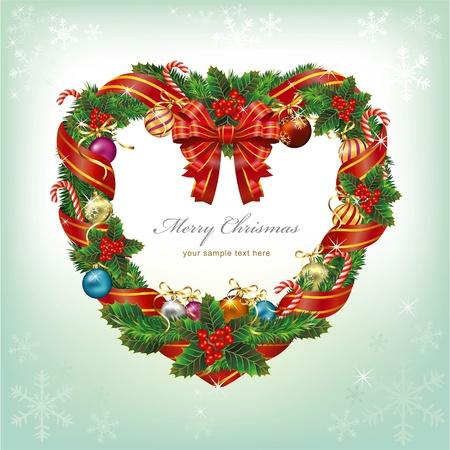 Heart Shaped Wreath Christmas Decoration. Vector Vector
