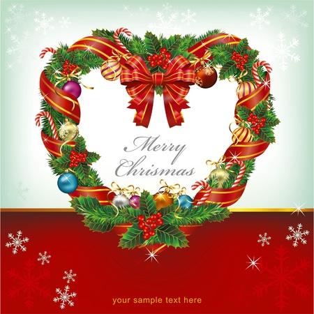 christmas berries: Heart Shaped Wreath Decorazione di Natale. Vettore