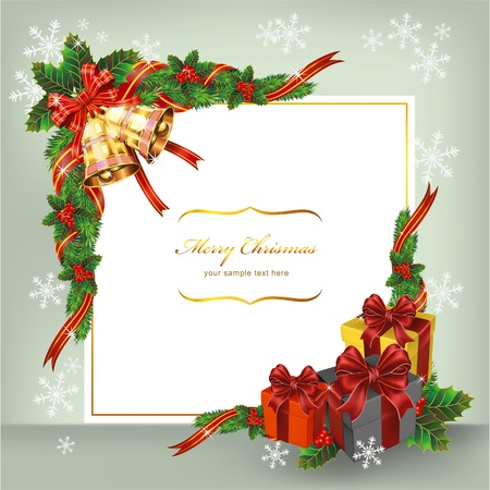gold leafs: Christmas card with bells and gifts. Vector Illustration