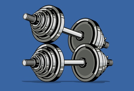 Dumbbell on blue background