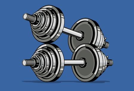 pesas: Mancuerna sobre fondo azul