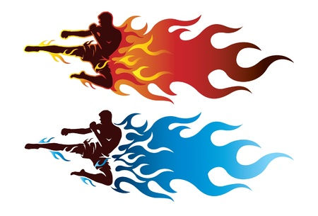 male boxer: Ultimate fighter sport with fire Illustration