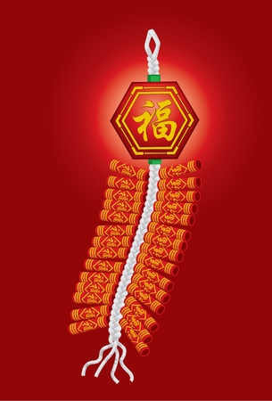 Chinese firecrackers for Chinese new year celebration Vector