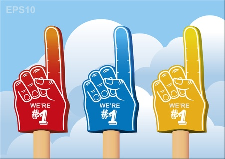 color set of foam hand Stock Vector - 11375439