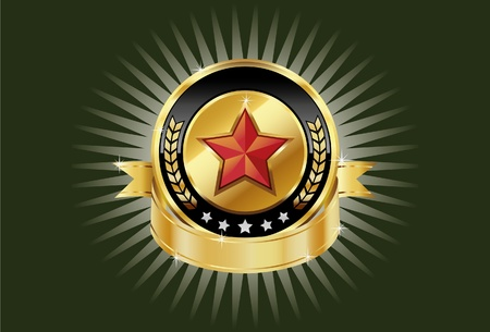 Gold metallic shields and red stars for your branding templates. Vector