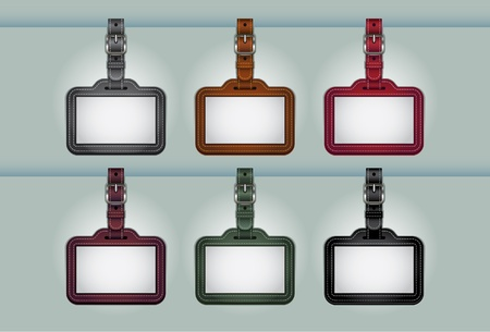 set of leather name tags or price tags Vector