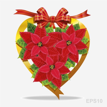 Christmas decoration pointsettia and red ribbon Vector