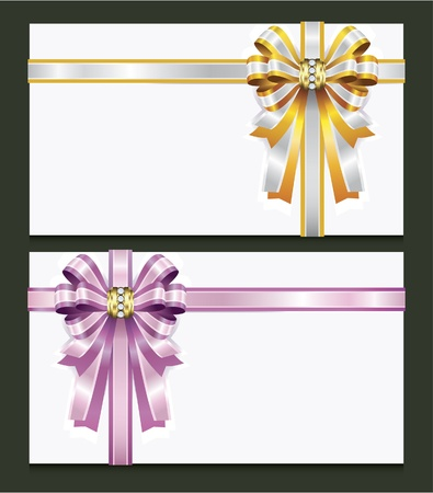 Blank gift card with pink and gold bow Vector