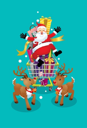 pere noel: Père Noël et Renne aller faire du shopping le jour de Noël Illustration
