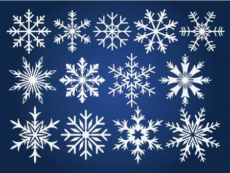 snowflake: Snowflake winter set illustration