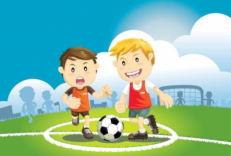 Children playing soccer outdoors Vector
