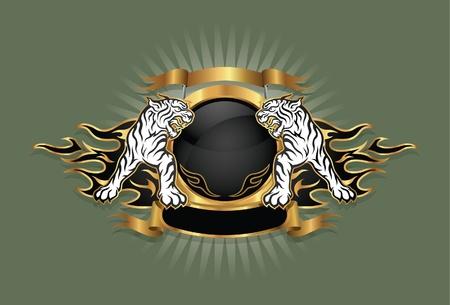 coat of arms: emblema de la capa de tigre del brazo