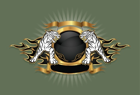 kurtka: godło herbu tygrysa ramienia Ilustracja