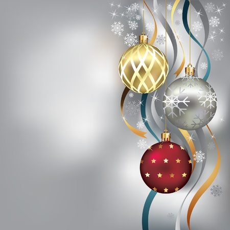 noel: Christmas background with baubles and ribbon in snow