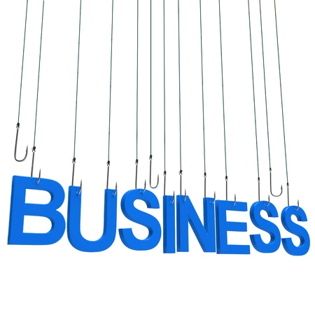 finance background: Text BUSINESS  hanging on a fishing hook. Isolated over white