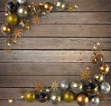 silver christmas: Christmas Decoration over wood background