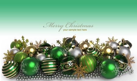 Christmas background with baubles and snowflake photo
