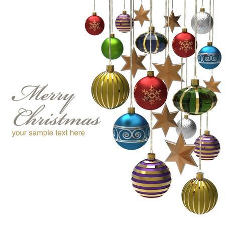 streamers: De fondo de Navidad con bolas y estrellas Foto de archivo