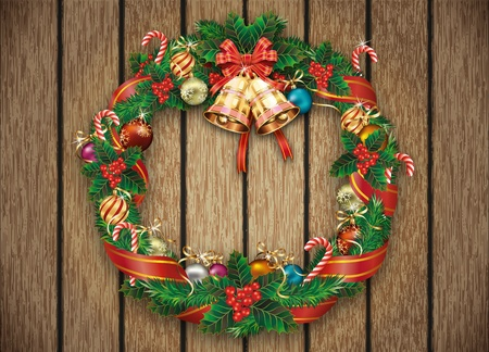 Christmas wreath over wood background photo