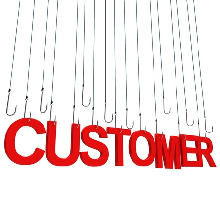 Text Customer  hanging on a fishing hook. Isolated over white photo