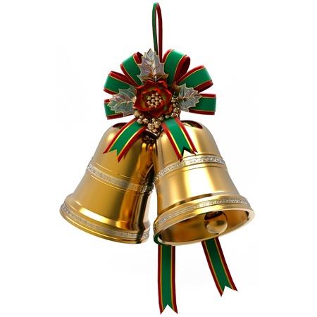 campanas: Decoración de Navidad. Holly Campanas de la hoja y cinta