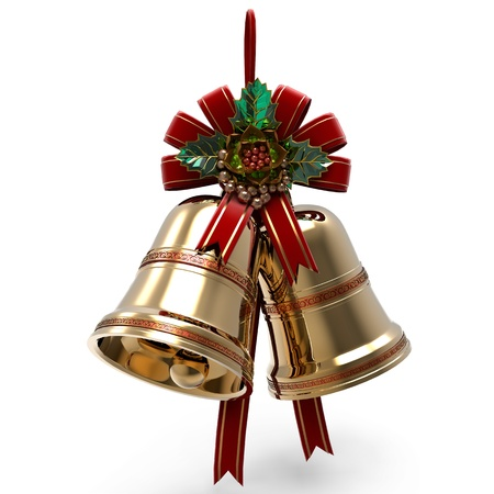 Christmas decoration. Bells Holly leaf and Ribbon Stock Photo - 11375679