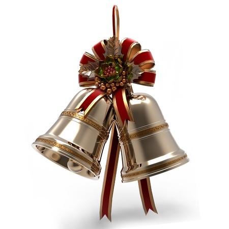 christmas berries: Decorazioni di Natale. Campane di Holly foglie e nastro Archivio Fotografico