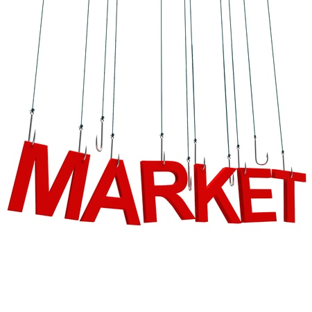 Text Market  hanging on a fishing hook. Isolated over white photo