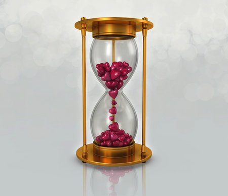 speed dating: sand clock and pink heart