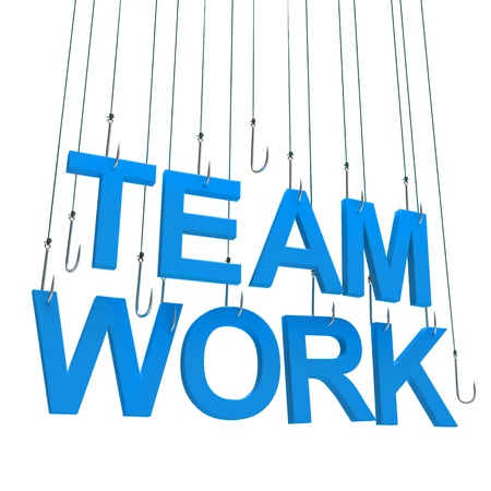 Text Team Work  hanging on a fishing hook. Isolated over white photo