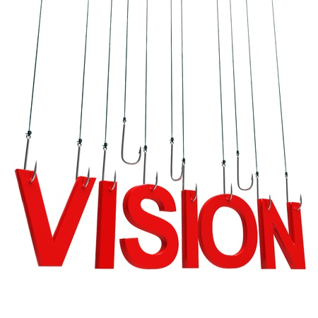 seeking solution: Text Vision  hanging on a fishing hook. Isolated over white