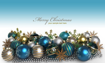 Christmas background with baubles and snowflake Stock Photo - 11375681