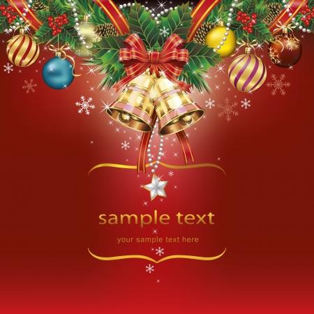 christmas berries: Sfondo di Natale con nastro campane pigna e bacche. Vettore