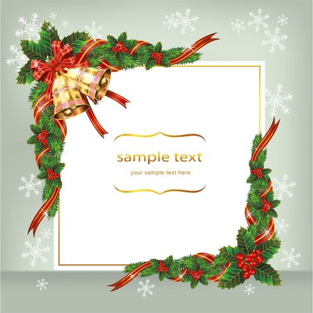 Christmas background with bells and berry. Vector
