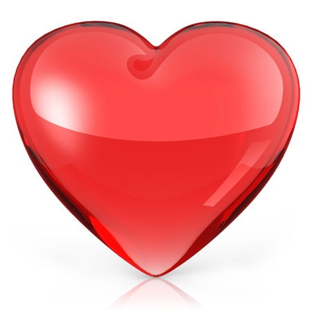 shiny hearts: 3d Red heart on white background. Stock Photo