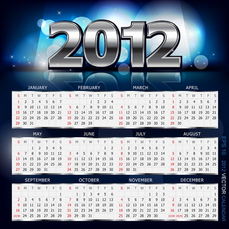 2012 Calendar. Vector Illustration. eps10.  Vector