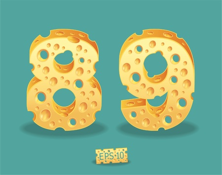 shred: Vector of Cheese Alphabet Illustration