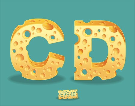 Vector of Cheese Alphabet Vector