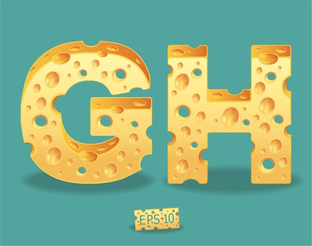 mouse hole: Vector of Cheese Alphabet Illustration
