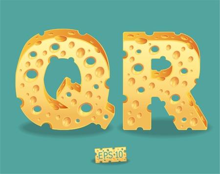 shredding: Vector of Cheese Alphabet Illustration