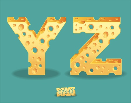 shredding: Vector of Cheese Alphabet Illustration