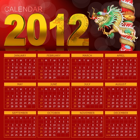 2012 Calendar with Chinese Dragon photo