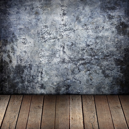 grime: grunge wall and old wood background.