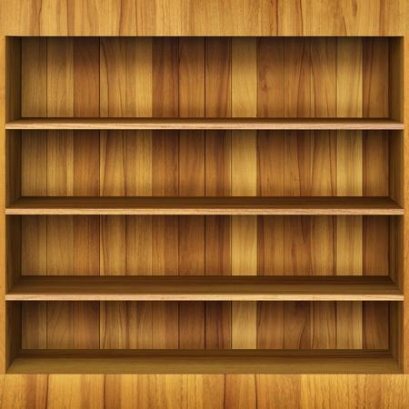 store shelf: 3d Wooden book Shelf Stock Photo