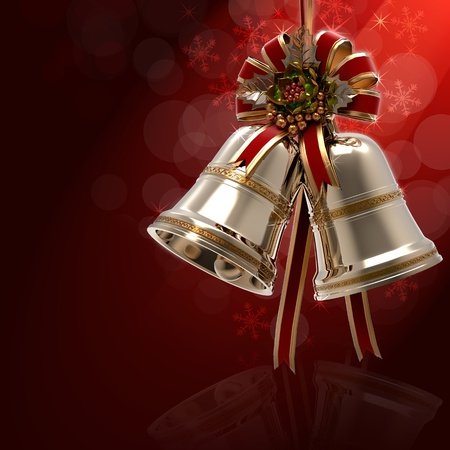 Christmas Bells Holly leaf and Ribbon photo