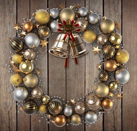 campanas navidad: Corona de Navidad sobre fondo de madera Foto de archivo