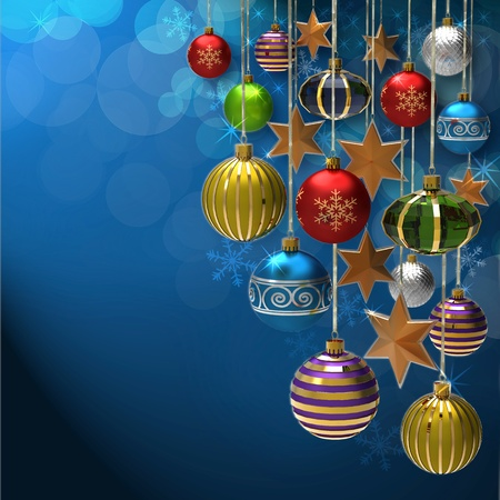 Christmas background with baubles and star photo