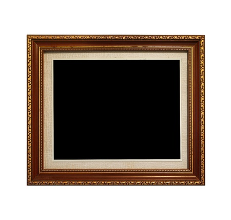 Wooden picture frame isolated on white background photo