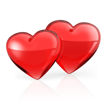 Two Red heart on white background. photo